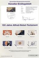Allemagne 1995 - Michel N. 1828 - Künstler-Ersttagblatt Testament D'Alfred Nobel (Y & T N. 1660) - FDC: Feuilles