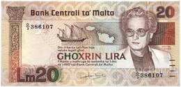 MALTA  20 Lira 1967 (1986) Pick 40a, XF - Malta