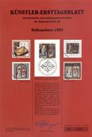 "Allemagne 1995 - Michel N. 1832 - Künstler-Ersttagblatt ""Noël"" (Y & T N. 1664) - FDC: Feuilles"