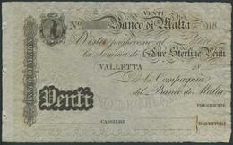 MALTA 20 Lira 18… Banco Di Malta  XF P-S163 - Malta