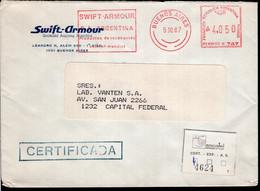 Argentina - 1987 - Lettre - Cachet Spécial - Affranchissement Mécanique - Swift-Armour - A1RR2 - Lettres & Documents