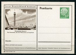 """Germany,Allemagne 1956 GS Mi.Nr.P24/0175 Heuss I Grün """"Lernt  Deutschland Kennen-Hannover-Hermesturm """"1 GS Blanco - Postales Ilustrados - Nuevos"""