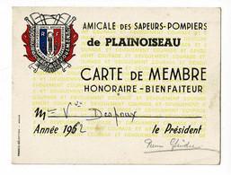 Carte 9 X 12 Cm - Amicale Des Sapeurs-Pompiers Plainoiseau (39) Membre Honoraire-Bienfaiteur Mme Vve Despoux, 1962 - Cartes De Visite