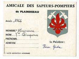 Carte 9 X 12 Cm - Amicale Des Sapeurs-Pompiers Plainoiseau (39) Membre Honoraire - Mme Vve Despoux, 1966 - Cartes De Visite