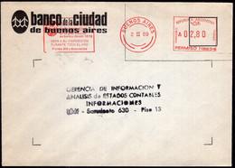 Argentina - 1989 - Lettre - Cachet Spécial - Affranchissement Mécanique - Banco Ciudad De Bs. As. - A1RR2 - Lettres & Documents