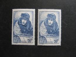 TB N° 461a Outremer + Normal , Neufs XX . - Variétés: 1931-40 Neufs