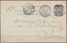 ENTIER Type Sage 10c Sur CPA De  PARIS-74  Posté  Le 17 Janv 1899  Pour 76 LE HAVRE   Cachet BD Double - Cartoline Postali E Su Commissione Privata TSC (ante 1995)