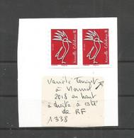 1338  Cagou Rare  Variété    2018 En Plus En Haut à Droite à Coté De RF  (clascamerou27) - Used Stamps