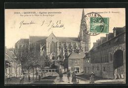 CPA Quintin, Eglise Paroissiale, Vue Prise De La Place Du Bourg-Juigné - Quintin