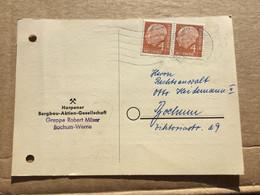 K16 BRD 1958 Ortskarte Von Bochum-Langendreer Waagerechtes Paar! Bergbau - Storia Postale