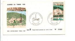 COTE D'IVOIRE FDC 1968 JOURNEE DU TIMBRE STATION DE RADIO - Costa De Marfil (1960-...)