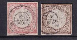 PEROU - 1862 - YVERT N° 8/9 (SIGNE CALVES) - COTE = 52.5 EUR. - Perú