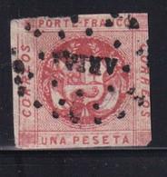 PEROU - 1860 - YVERT N° 7 OBLITERE DEFECTUEUX (MARGES COURTES) - COTE = 40 EUR. - Perú