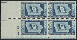 1946, 1949 AND 1950 - PLATE NUMBER - 3 X BLOCK OF 4 (MNH) .......... WNV - Nuevos