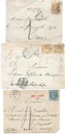 7 Devants Avec Griffes AFFRANCHISSEMENT INSUFFISANT De Paris Indicatives Du Bureau - 1849-1876: Période Classique