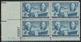 1946 AND 1949 - PLATE NUMBER - 3 X BLOCK OF 4 .......... WNV - Nuevos
