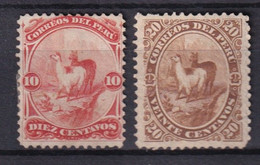 PEROU - 1866/68 - YVERT N° 11/12 (*) NEUF SANS GOMME  - COTE = 40 EUR. - Perú