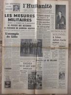 Journal L'Humanité (20 Mars 1956) Hommage à Irène Joliot Curie- Mesures Militaires Algérie - D Darrieux- L Terray - 1950 - Nu
