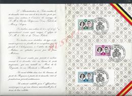 BELGIQUE FAIRE PART DE MARIAGE ROYAL ILLUSTRÉE SUR TIMBRES BELGES : - Cartas