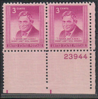 1948, 1951 AND 1952 - PLATE NUMBER - 4 X BLOCK OF 2 (MNH) .......... WNV - Nuevos