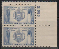 1937, 1943, 1946 AND 1948 - PLATE NUMBER - 4 X BLOCK OF 2 .......... WNV - Nuevos