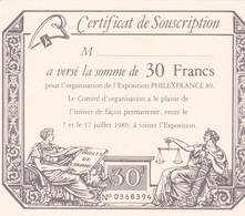 1989 - FRANCE.-  Certificat De Souscription De 30 Francs  Pour L' Exposition PHILEXFRANCE 89 - Expositions Philatéliques
