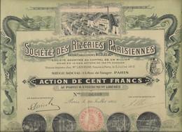 SOCIETE DES RIZERIES PARISIENNES - ACTION ILLUSTREE DE 100 FRS - ANNEE 1915 - Zonder Classificatie