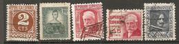 ESP 1936- Yv. N° 557,557A,560,562,563 (o)  2,10,30,45,50c  Cote  0,75 Euro  BE - 1931-50 Usados