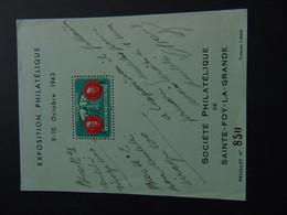 Rare Bon à Tirer Du Bloc émis Pour L'exposition Philatélique De 1943 De Sainte-Foy-La-Grande - Expositions Philatéliques