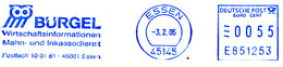 Freistempel Kleiner Ausschnitt 014 Eule Bürgel Inkasso - Poststempel - Freistempel