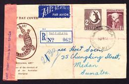 1948 Zensurierter R-Brief Aus Ballalaba Nach Medan, Sumatra. - Briefe U. Dokumente