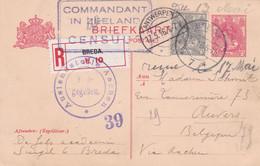 Nederlands - Y&T 53 On Postal Stationnery (5c) Registered - From Breda To Antwerpen - Censored In Zeeland - 1916 - Covers & Documents