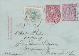 Belgique - COB 45 + 46 Sur Carte-lettre 10c De Anvers Station Vers Francfort Allemagne - 1869-1888 Lying Lion