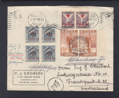 Griechenland Greece Brief 1937 Athen Nach Frankfurt Nachträglich Entwertet - Cartas
