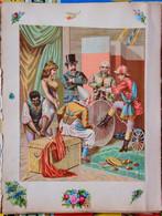 Feuille D'album De 2 Grands Chromos Et 14 Découpis - Les Préparatifs D'un Spectacle De Cirque - Otros