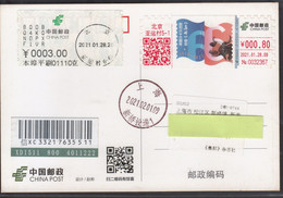 """China 2021, ATM, """"66th Anniversary Of Philatelic Magazine"""" On Postal Used Postcard, With Arrival Postmark - Brieven En Documenten"""