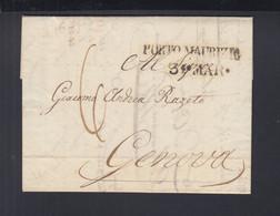 Italien Italia Faltbrief 1838 Porto Maurizio Nach Genova - 1. ...-1850 Vorphilatelie