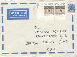 Kanada Mi. 782 Paar Eckrand Weihnachten 1980 TGST Camada 1981 Luftpost - Brief Nach DDR - Cartas