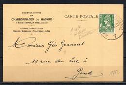 340 Op Postkaart Gestempeld (ambulant) HERBESTHAL - BRUXELLES - 1932 Cérès Et Mercure