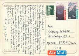 Kanada Mi. 988 - 989 EXPO 1986 Satellit + Mi. 950 DI Parlamentsgebäude TGST 1988 - Postkarte Nach DDR - Cartas