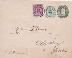 Belgique - COB 45 + 46 Sur Lettre Pré-affranchie 10c De Bruxelles Vers Ohrdruf, Région De Gotha (Allemagne) - 1887 - 1869-1888 Lying Lion