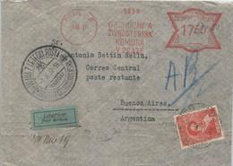 TCHECOSLOVAQUIA 1937 AIR MAIL COVER WITH MECHANICAL POSTAGE - Briefe U. Dokumente