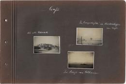 1093 Corfou Corfu Vintage Album Page With 3 Photos 4x6 Cm & 2 Cpa - Grecia