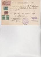 DOCUMENTO CONSOLATO   SUEZ   .  1954 .  CON 6  MARCHE CONSOLARI REGNO E REPUBBLICA - Documenti Storici