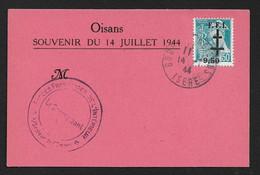 France Libération, Bourg L'Oisans N°1M Sur  Document Souvenir Du 14 Juillet 1944 .cote 170€ - Liberación