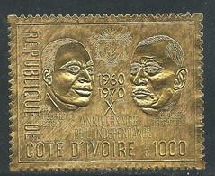Côte D'Ivoire N° 308 XX Pt Houphouët-Boigny- Charles De Gaulle, 1000 F. Sur Or Sans Charnière, TB - Costa De Marfil (1960-...)