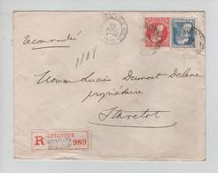 REF3516/ TP 74-76 GB S/L.Recommandée C.BXL Palais De Justice 1910 > Stavelot C.d'arrivée Et De Passages Liège (Valeurs) - 1905 Grosse Barbe