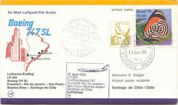 BRAZIL 1980 First Flight Lufthansa LH502 RIO DE JANEIRO - SANTIAGO DE CHILE - Aéreo