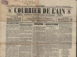 Timbre Pour Journaux YT Blanc 108 X2 CAD Reyssouze Journal Courrier De L'Ain 1911 Parle Meeting Aviation Tarif Misogynie - Journaux