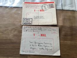 Rares Courriers US V Mail Adresses à Un Français D'Algerie Campagne D'Italie - 1939-45